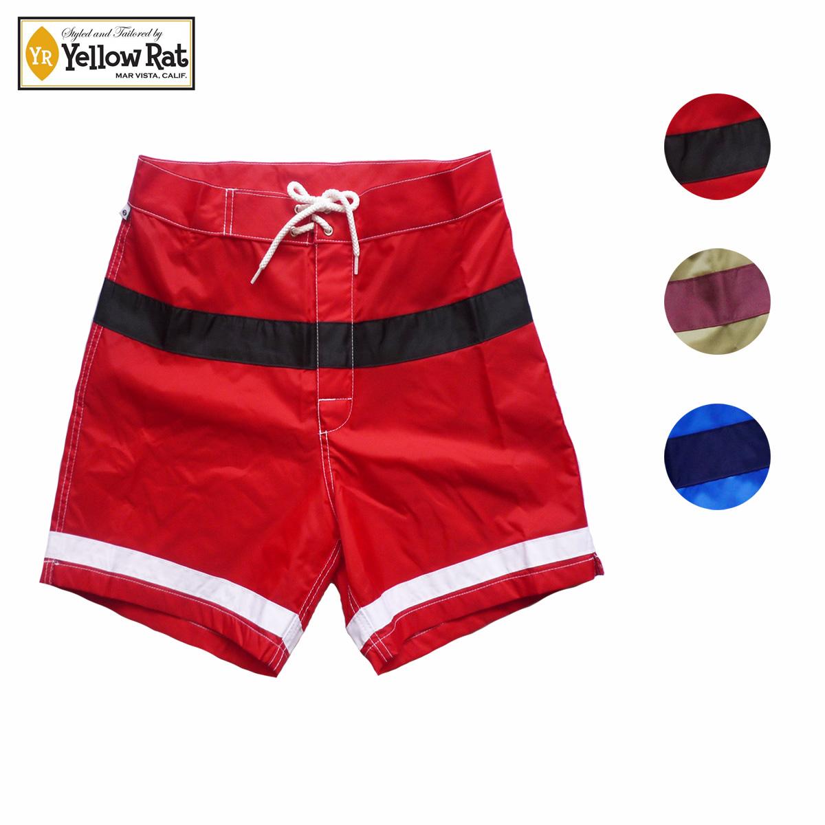 【セール 50%OFF】Yellow Rat イエローラット WINDN' SURF CLUB TRUNKS メンズ レッド/カーキ/ブルー 30-34[トランクス パンツ ボードショーツ ハーフパンツ ショートパンツ アメリカ製 サーフ アメカジ ブランド]