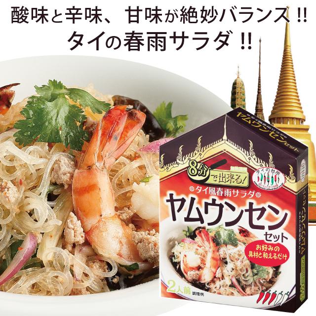 春雨を戻してお好みの具材と合わせるだけで、酸味と辛味、甘味の効いたさっぱりとしたタイの春雨サラダ「ヤムウンセン」が出来る合わせ調味料。 タイの台所 8分で出来る ヤムウンセン セット 2-3人前 春雨 サラダ 前菜 タイ料理