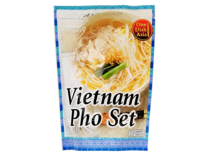 麺とスープの素入り。フォーがお手軽に楽しめます。チキンベースのあっさりヘルシーな味わいが特徴。 ONE DISH ASIA ベトナムフォーセット 170g 2人前 ベトナム料理 米粉麺 ライスヌードル フォー ミールキット 時短