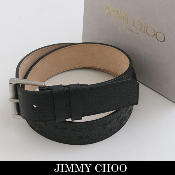 JIMMY CHOO(ジミーチュウ)レザーベルトブラックARCHER EMG 131