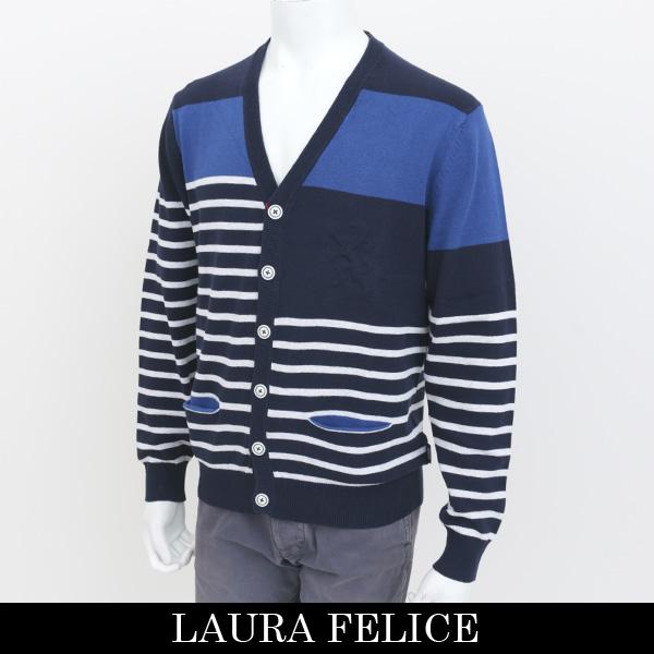 LauraFelice(ラウラ・フェリーチェ)カーディガンネイビー×ブルー×ホワイト128 7003 27
