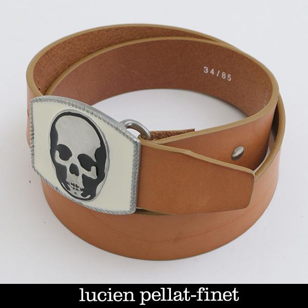lucien pellat-finet(ルシアンペラフィネ)スカルバックルレザーベルトキャメルBELT11