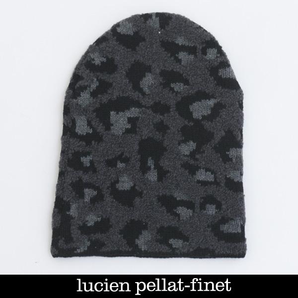 lucien pellat-finet(ルシアンペラフィネ)ニットキャップブラック×グレーAAU70(353 88805)