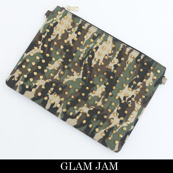 GLAMJAM(グラムジャム)クラッチバックアーミー×ゴールド×レッドONI STUDS BAG CLUCH BAG