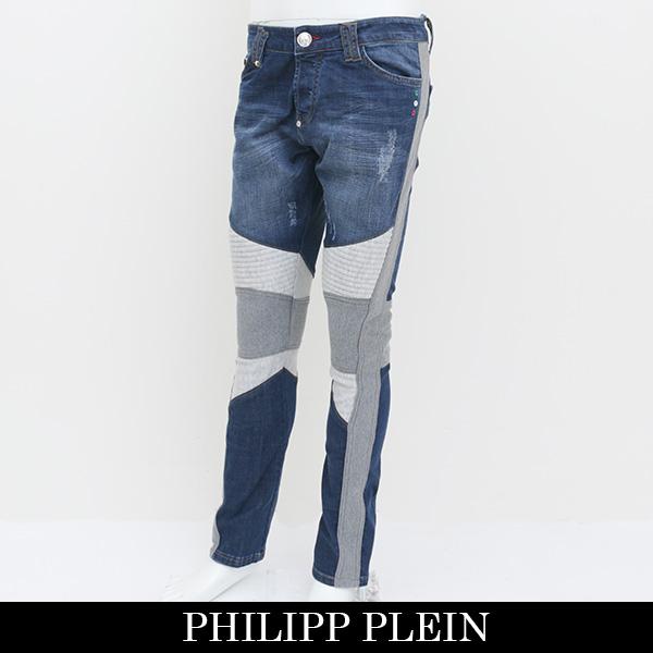 PHILIPP PLEIN(フィリッププレイン)デニムパンツインディゴ×グレーP17C MDT0035 PDE006N