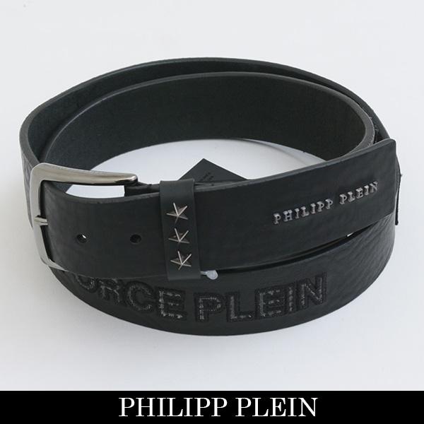 PHILIPP PLEIN(フィリッププレイン)レザーベルトブラックFW16 AM771848