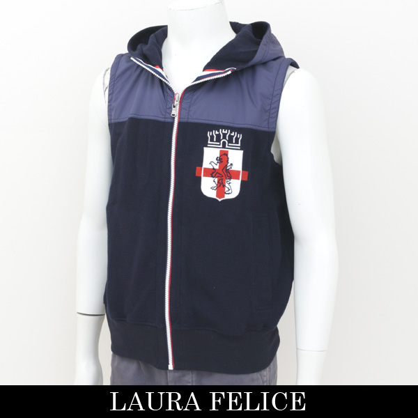 LauraFelice(ラウラ・フェリーチェ)フード付きベストネイビー130 6004 26