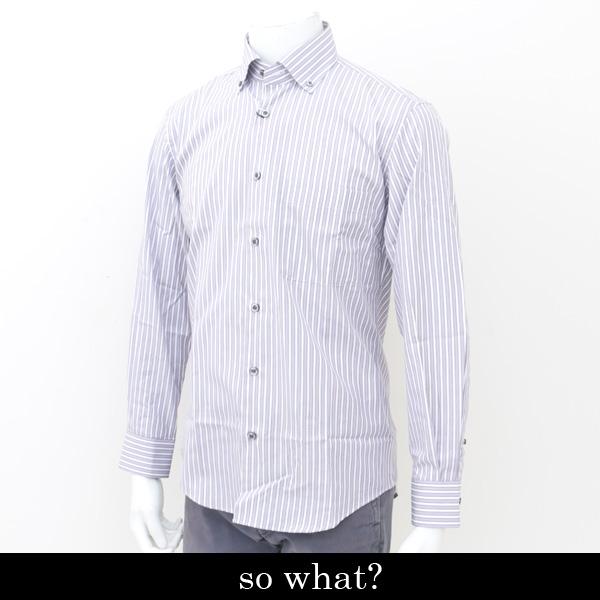 so what?(ソーファット)長袖カジュアルシャツホワイト×パープル×ブラック00 77127 89
