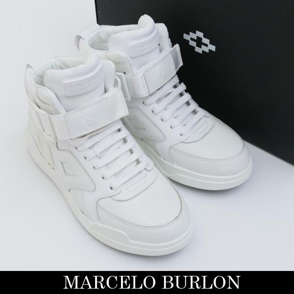 MARCELO BURLON(マルセロバーロン)ハイカットスニーカーホワイトCMIA003S160381420101