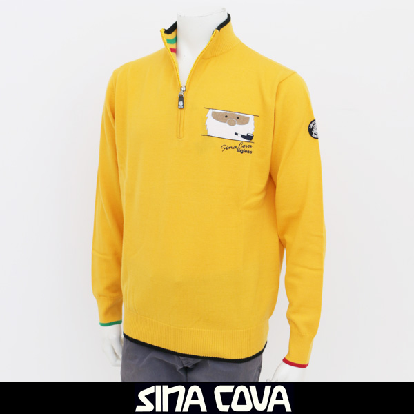 SINA COVA(シナコバ)ハイネックジップアップセーターイエロー17252030 550