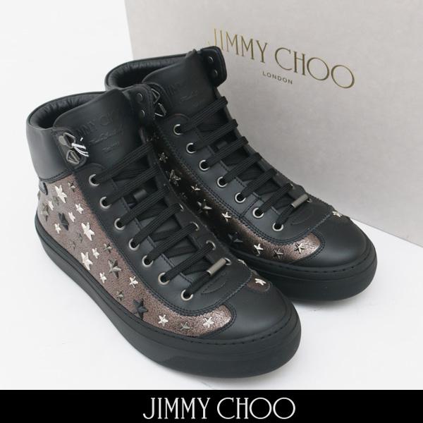 JIMMY CHOO(ジミーチュウ)ハイカットスニーカーシルバーARGYLE EOR 173