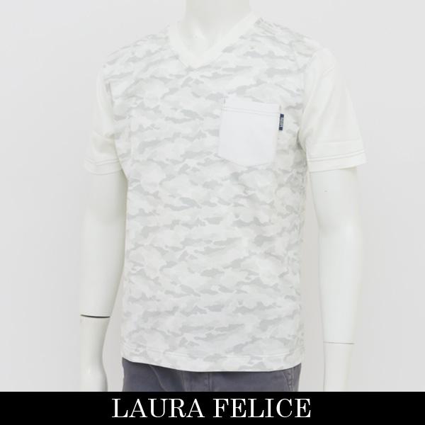 LauraFelice(ラウラ・フェリーチェ)Vネック半袖Tシャツホワイト系(カモフラ柄)130 5506 12