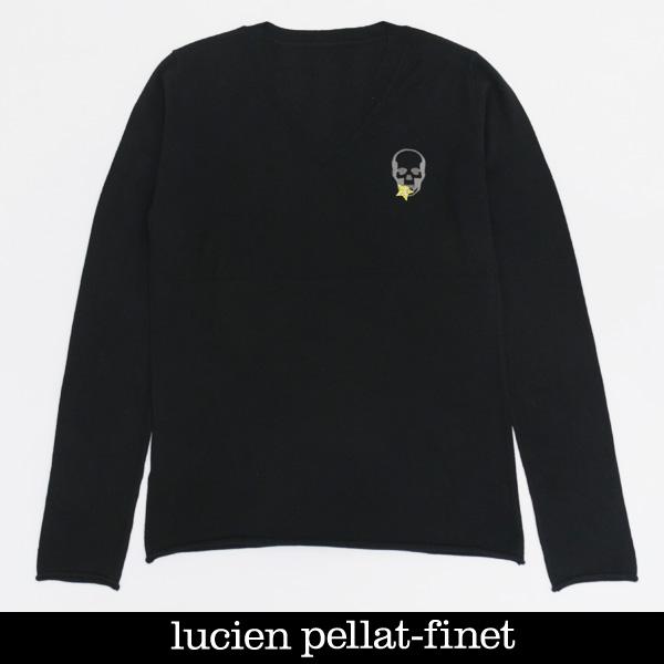 Lucien Pellat-finet(ルシアンペラフィネ)レディースコットンカシミアVネックセーターブラックRAP109F(323 55400)