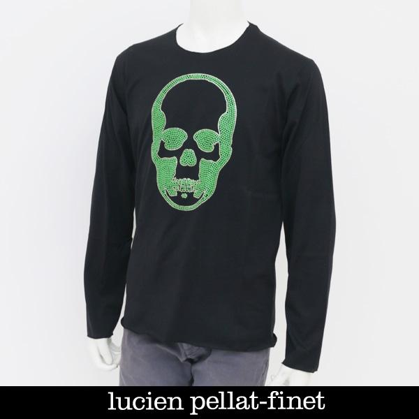 Lucien Pellat-finet(ルシアンペラフィネ)スワロフスキー使用スカルロングTシャツブラックEVU2001(293 53405)