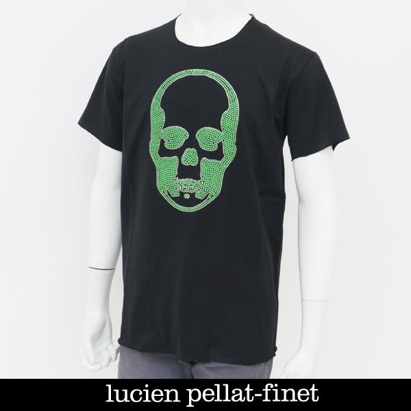 Lucien Pellat-finet(ルシアンペラフィネ)スワロフスキー使用スカル半袖TシャツブラックEVU2003(293-54407)