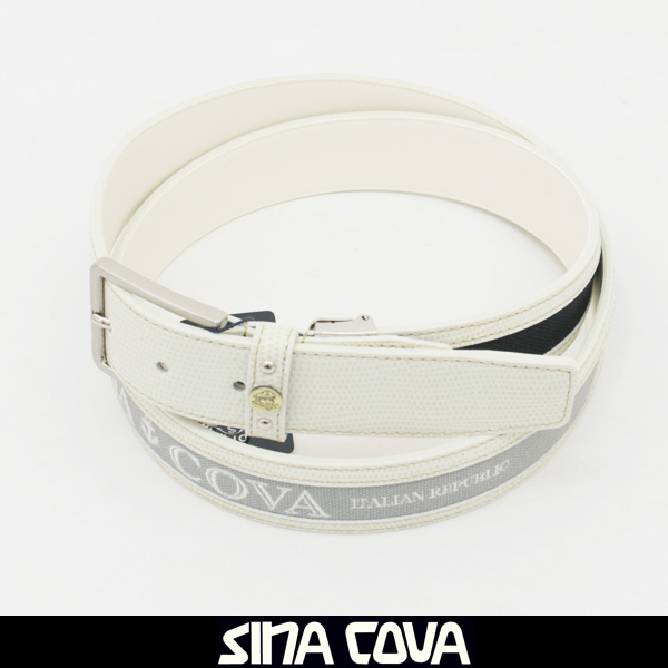 SINA COVA(シナコバ)レザーベルトホワイト×グレー×ネイビー18176020 910