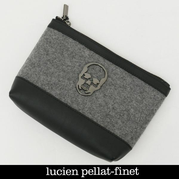 lucien pellat-finet(ルシアンペラフィネ)トラベルポーチグレー×ブラックYAMJ39 29206