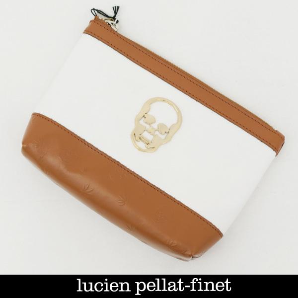 lucien pellat-finet(ルシアンペラフィネ)トラベルポーチオフホワイト×キャメルYAM29 19606