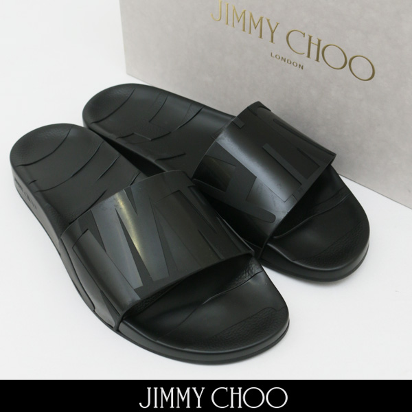 JIMMY CHOO(ジミーチュウ)フラットサンダルシャワーサンダルブラックREY/M RUB 181