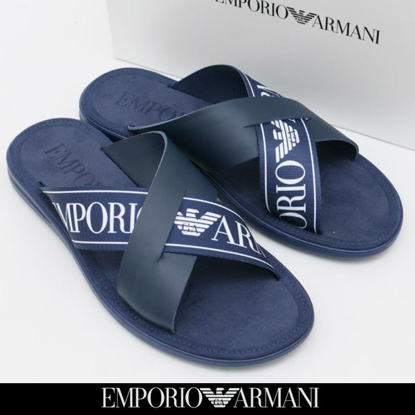 EMPORIO ARMANI(エンポリオアルマーニ)フラットサンダル/ネイビーX4P001 XAL73 E553