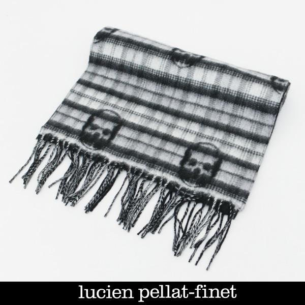 Lucien Pellat-finet(ルシアンペラフィネ)ニットマフラーグレー×ブラックLPF01471 28432 090