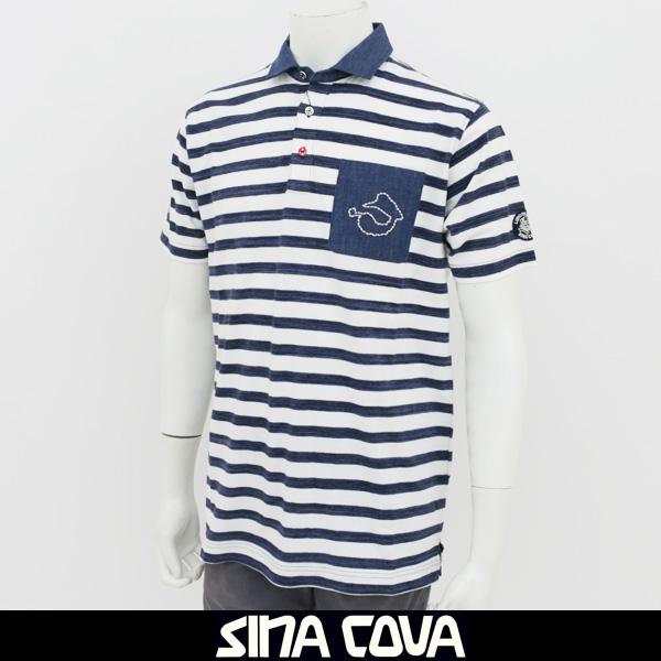 SINA COVA(シナコバ)半袖ポロシャツネイビー×ホワイト18120550 920