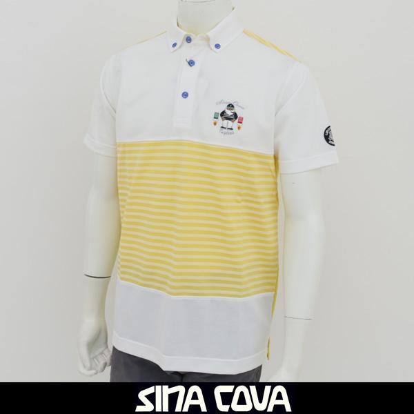 SINA COVA(シナコバ)半袖ポロシャツホワイト×イエロー17150550 540