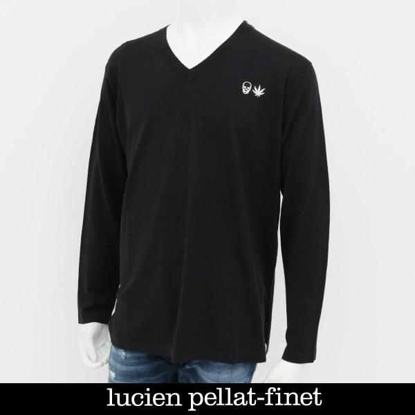 Lucien Pellat-finet(ルシアンペラフィネ)ワンポイントコットンVネックセーターブラックNB72H