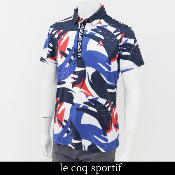le coq GOLF(ルコックゴルフ)半袖ポロシャツホワイトXネイビーQGMLGA09 WHNV