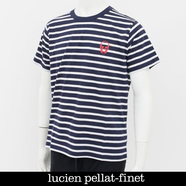 Lucien Pellat-finet(ルシアンペラフィネ)ワンポイントスカルプリント半袖Tシャツネイビー×ホワイトCP03U