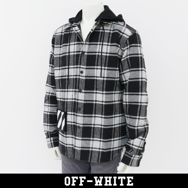 OFF-WHITE(オフホワイト)【メンズウェア】チェックシャツPADDED HOODIE SHIRT 0MGA061E18A270010800