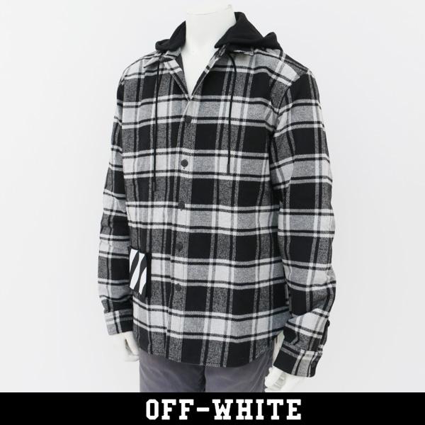 OFF-WHITE(オフホワイト)【メンズウェア】チェックシャツPADDED HOODIE SHIRT 0MGA061E18A270010800