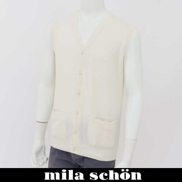 126 mila schon(ミラ・ショーン)ニットベストホワイト31783 01