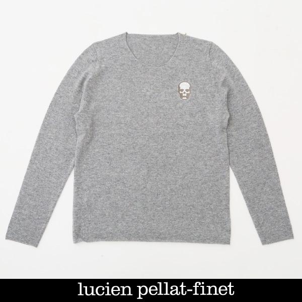Lucien Pellat-finet(ルシアンペラフィネ)ワンポイントカシミアセーターグレーNB81H 65311