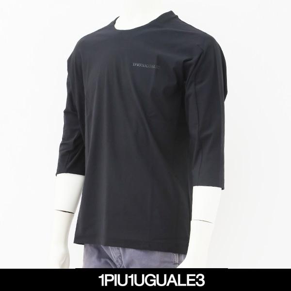 1PIU1UGUALE3(ウノピゥウノウグァーレトレ)7分袖Tシャツブラック×ブラックIQ004-PU01