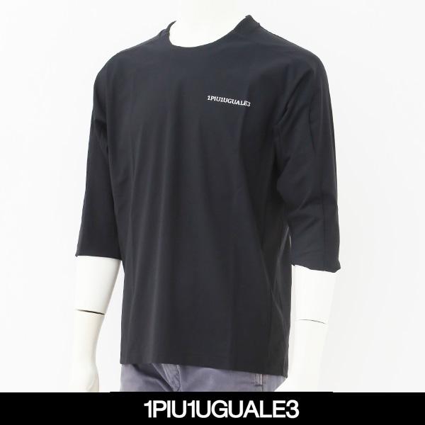 1PIU1UGUALE3(ウノピゥウノウグァーレトレ)7分袖Tシャツブラック×ホワイトIQ004-PU01