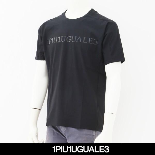1PIU1UGUALE3(ウノピゥウノウグァーレトレ)半袖Tシャツブラック×ブラックIQ003-PU01