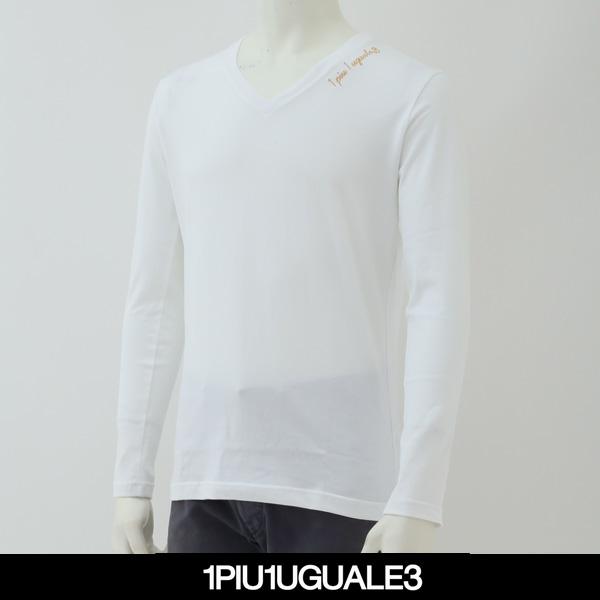 1PIU1UGUALE3(ウノピゥウノウグァーレトレ)VネックロングTシャツ長袖TシャツホワイトMKT161 COT239