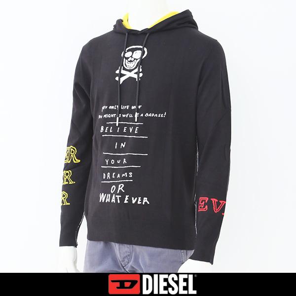 DIESEL(ディーゼル)フード付きロングセーターブラック00SH41 0CASW