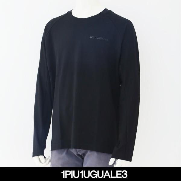 1PIU1UGUALE3(ウノピゥウノウグァーレトレ)ロングTシャツ長袖TシャツブラックCT006
