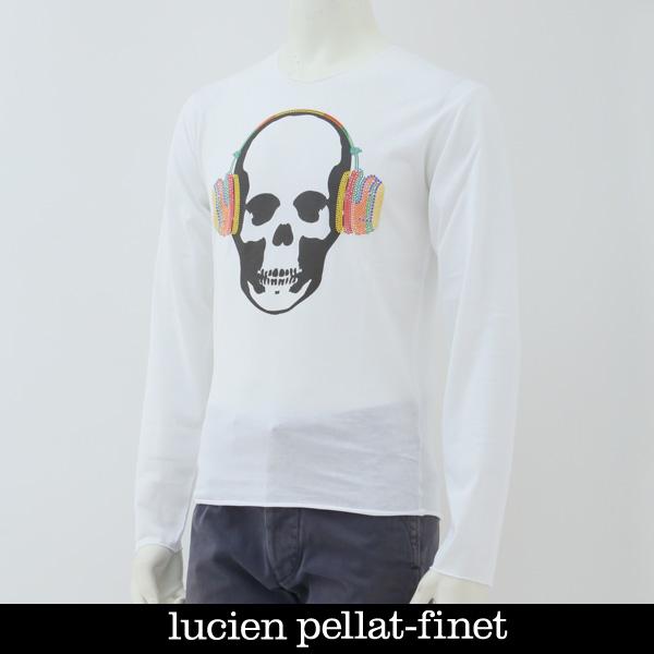 Lucien Pellat-finet(ルシアンペラフィネ)スカルロングTシャツホワイトEVU2005
