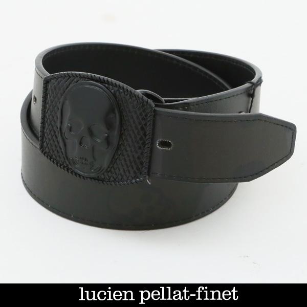 lucien pellat-finet(ルシアンペラフィネ)スカルバックルレザーベルトブラック(カモフラ柄)BELT26