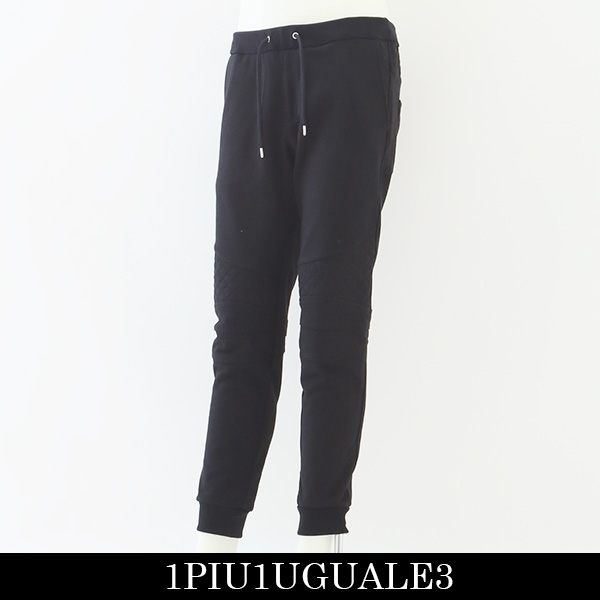 1PIU1UGUALE3(ウノピゥウノウグァーレトレ)スウェットバイカーパンツ (ブラック)MRP351 CTN047
