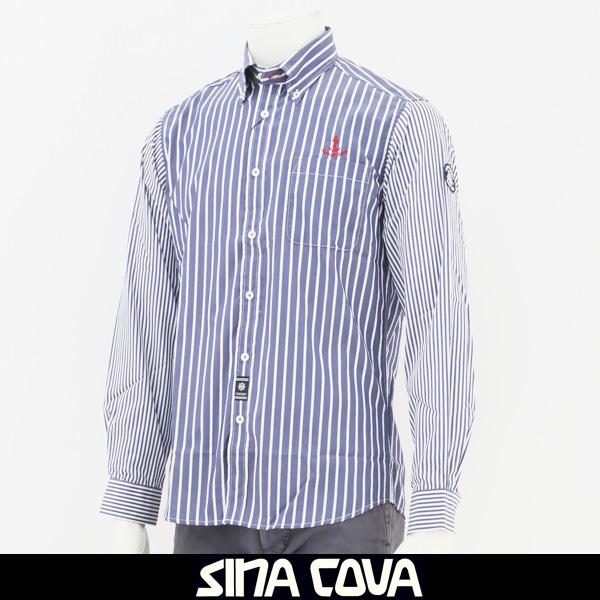 大人気SINA COVA(シナコバ)長袖カジュアルシャツブルー系18234030
