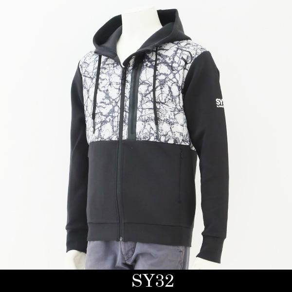 SY32bySWEET YEARS(スウィートイヤーズ)インシュレーションMIXダブルニットフーディーブラック系8103