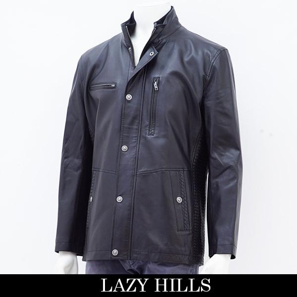 LAZY HILLS(レイジーヒル)レザーハーフコート/ブラック363-8670