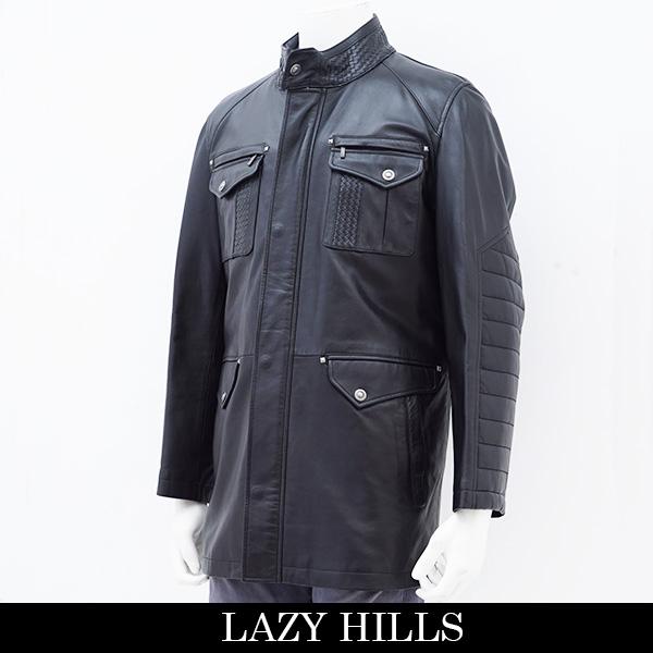 LAZY HILLS(レイジーヒル)レザーハーフコート/ブラック33-8672