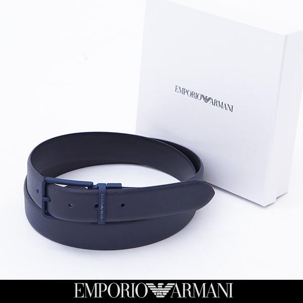 EMPORIO ARMANI(エンポリオアルマーニ)リバーシブルバックルレザーベルトブラック×ネイビーY4S202 YLP4V