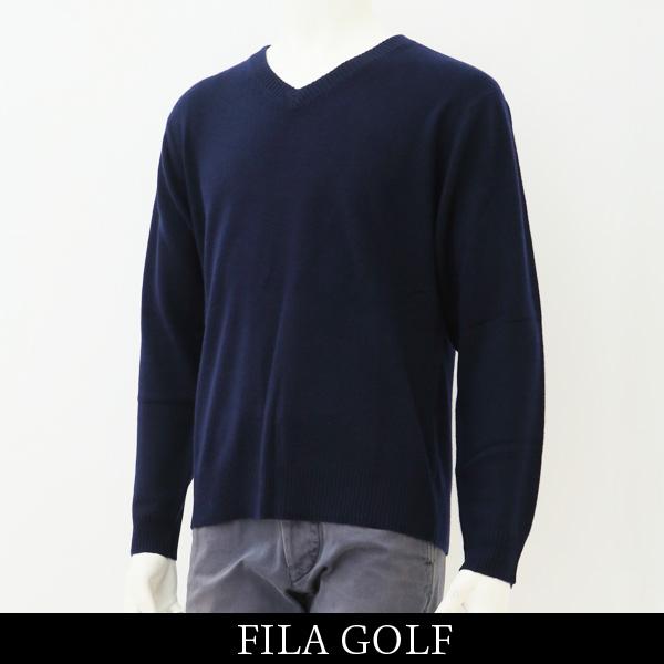 FILA GOLF(フィラゴルフ)Vネックカシミアセーターネイビー系788 712 1