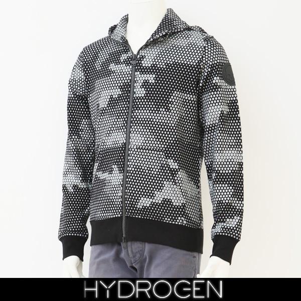 HYDROGEN(ハイドロゲン)ジップアップパーカーブラック×グレー(カモフラ柄)240606